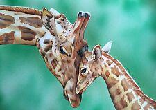 Mother & Baby Giraffa opera d'arte originale disegno a matita. FAN-ART A4.