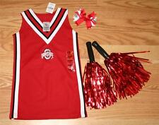 CHEERLEADER COSTUME OUTFIT OHIO STATE 3T POM POMS ZEBRA BOW CHEER SET