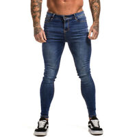 GINGTTO Men Skinny Jeans Washed Blue Classic Stretch Slim Fit Casual Denim Pants