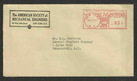 1937 THE AMERICAN SOCIETY MECHANICAL ENGINEERS New York NY 3¢ RED METER COVER