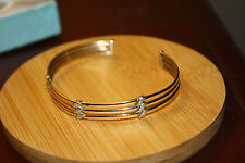 100% Genuine 9ct Solid Yellow White Gold Bangle wt Diamonds .Excellent Condition