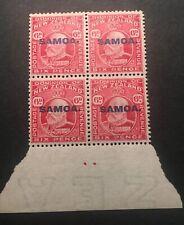 Rare 1914 Samoa 6d Plate Dot Block