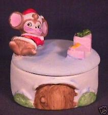 Porcelain Homco Reclining Christmas Mouse Trinket Box