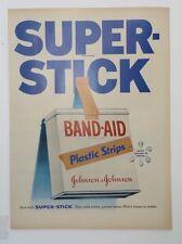 Original Print Ad 1955 BAND-AID Super-Stick Johnson & Johnson Plastic Strips