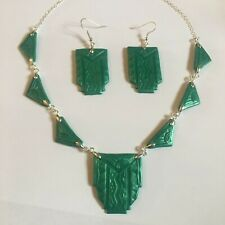 PEARLY GREEN ART DECO HAND CRAFTED ARCHITECTURAL NECKLACE & EARRINGS SET