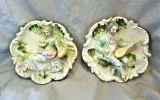 Vintage Andrea Hand Painted Occupied Japan Bisque Porcelain 3D Wall Plaques Rare