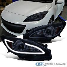 Glossy Black 10-13 Mazda 3 Smoke Tinted Projector Headlights w/ LED DRL Strip