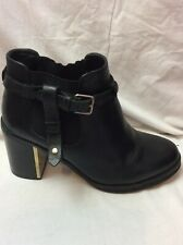 LADIES TOPSHOP BLACK LEATHER ANKLE BOOTS SIZE 39 Uk6