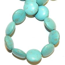 "NG2829 Light Blue Turquoise 14mm Puffed Flat Round Magnesite Gemstone Beads 7"""