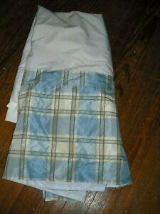 "Custom Chintz Lined KING Bedskirt Blue Yellow Green Plaid  ~16.5"" Drop"