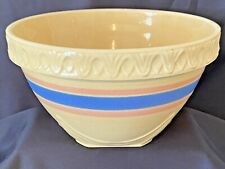Vintage Yellow Ware Large Mixing Bowl with Pink & Blue Stripes Piecrust Rim NICE