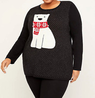 Catherine's 3X 26/28 Sweater Polar Bear Women's Knit Top Pullover Bust 60 $69