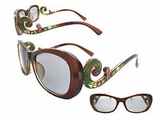 Women's Brown 1.0 Strength Peacock Reader Sunglasses with Tinted Lenses