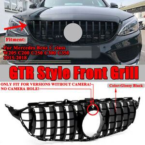 GTR Look Front Grill Grille Mesh Gloss Black For Mercedes Benz C-Class W205 C200