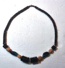 "Blue Plastic Beads 23"" In Length, Unique Necklace, Wood Disks & Blocks & Big"