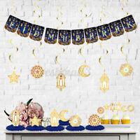 Ramadan Party Eid Mubarak Hanging Bunting Banner Islamic Festival Decoration  +(