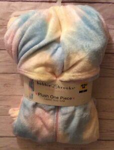 Bobbie Brooks Sleepwear Ladies Plush One Piece Tie-Dye Pajamas With Hood S/M NEW
