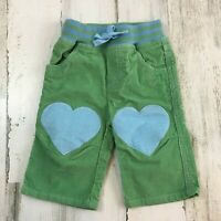 MINI BABY BODEN Heart Patch Green Pull On Corduroy Pants Girls Sz 3 to 6 Months