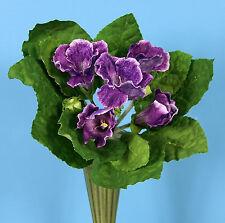 Pick One Large Purple African Violet Gloxinia Artificial Faux Silk Flower Bush