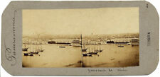 Primitive French stereo card Venice Panorama Ships 1855/58c Stereoview Very rare