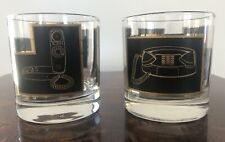 x2 Telephone Pattern in Black & Gold Vintage Mid Century Cocktail Glasses