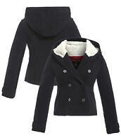 New Womens Hooded Parka Wool Coat Ladies Jacket Size 8 10 12 14 16 Fleece Black