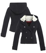 NUOVO Donna Parka con cappuccio lana giacca taglia 8 10 12 14 16 PILE NERO