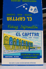 Rare Vintage Matchbook Cover D3 Hawthorne Nevada El Capitan Lodge & Casino Keno