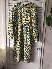 Zara cream green yellow floral midi dress Size L (approx 12)