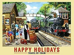 Happy Holidays Travel by Train large steel sign 400mm x 300mm (og)