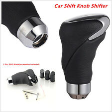 Universal Black Leather Metal Chrome Car Auto Shifter Gear Knob Head Manual