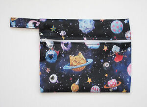 Small Wet Bag for Reusable Breast Pads, Wipes, Cloth Pads - Space