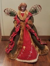 "Angel Tree Topper Christmas Red Green Dress Woodland Holiday 16"" Table Top New"