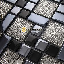 glossy gray black glass mosaic for bathroom shower tile kitchen backsplash