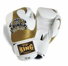 """Top King """"Empower Creativity"""" Boxing Gloves - White & Gold"""