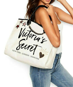 VICTORIA'S SECRET🧡 ANGEL CITY TOTE 🧡Heart CANVAS SHOPPER Carry on BAG XLG NWT