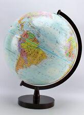 "Replogle Globemaster 2000 Ed 12"" Topographic Political World Globe Wood Base"