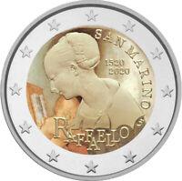 2 Euro Gedenkmünze San Marino 2020 coloriert / mit Farbe Farbmünze Raffael