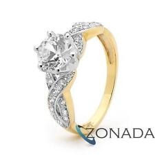Huge Gemstone 9k 9ct Solid Yellow Gold Wedding Solitaire Engagement Ring Size P