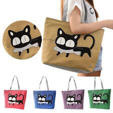 New Women Cute Cartoon Cat Bags Canvas Casual Shoulder Bag Zipper Pocket Handbag