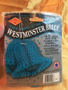 "Vintage Beistle Co Westminster Bells Art Tissue Decoration 4 5"" Assembled Full"