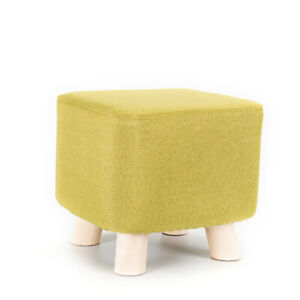Cotton Linen Fabric Cover Slipcover For Round Square Wooden Footstool Ottoman