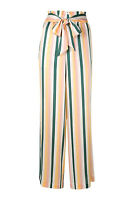 ASCENO 100% Silk Multi Stripe Wide Leg Palazzo Pants (M)