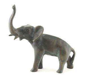 Vintage Solid Bronze Elephant Figurine Signed