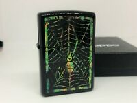 """Rare! ZIPPO 2003 Limited Edition Shell-Inlay """"Spider Web"""" Lighter Black"""