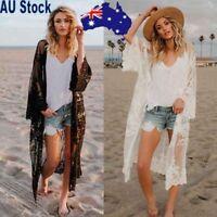 Women Chiffon Lace Kimono Cover Up Boho Beach Long Oversized Sunscreen Coat AU