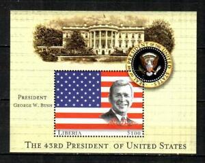 LIBERIA ( S/S ) George W. Bush, American Flag F/VF MNH ( 2000 )