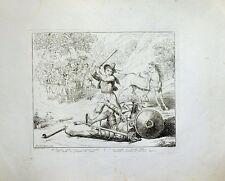 Eau-forte de PINELLI, 1833, Don Quichotte tombé de cheval