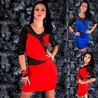 3/4 Sleeve Dress Black Mesh Party Mini Cut Out Crop Bodycon Sexy Casual Clubwear