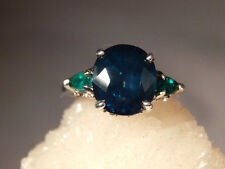 7.80 ct. Oval Sapphire & Pear Emerald Three-stone Ring Sterling Silver Filigree